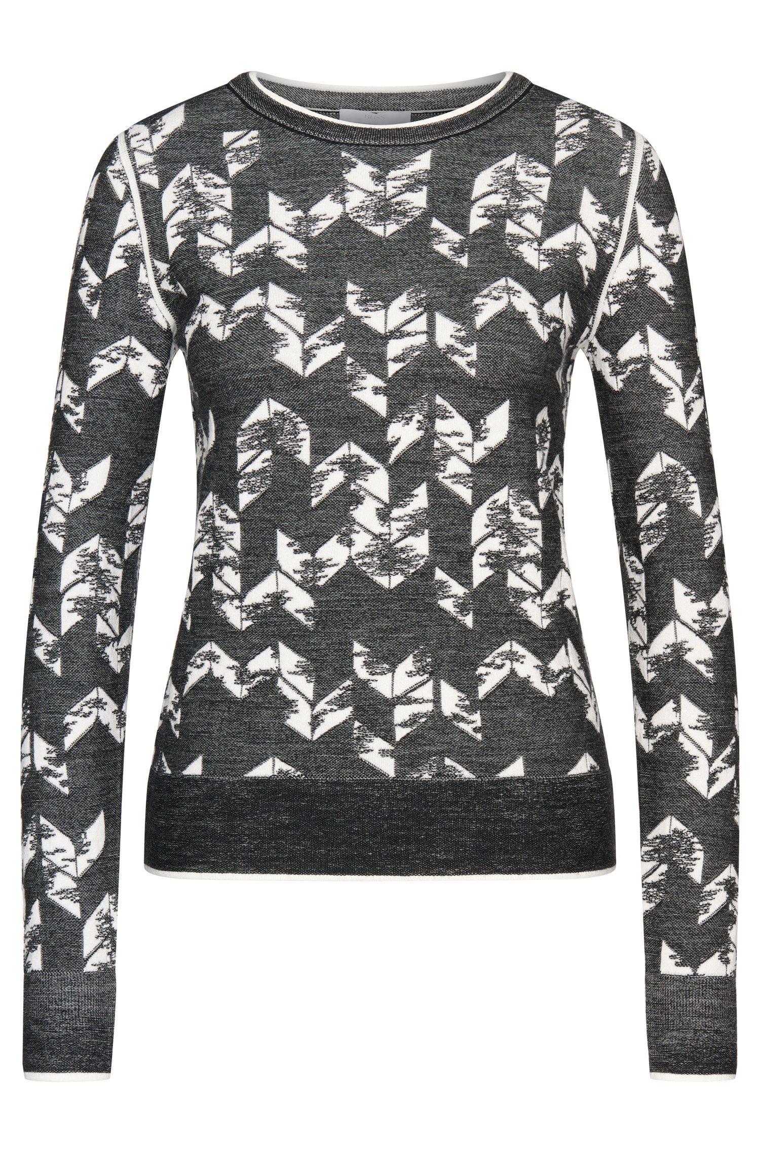 Maglione a disegni dal taglio corto in misto lana vergine: 'Fabiana'