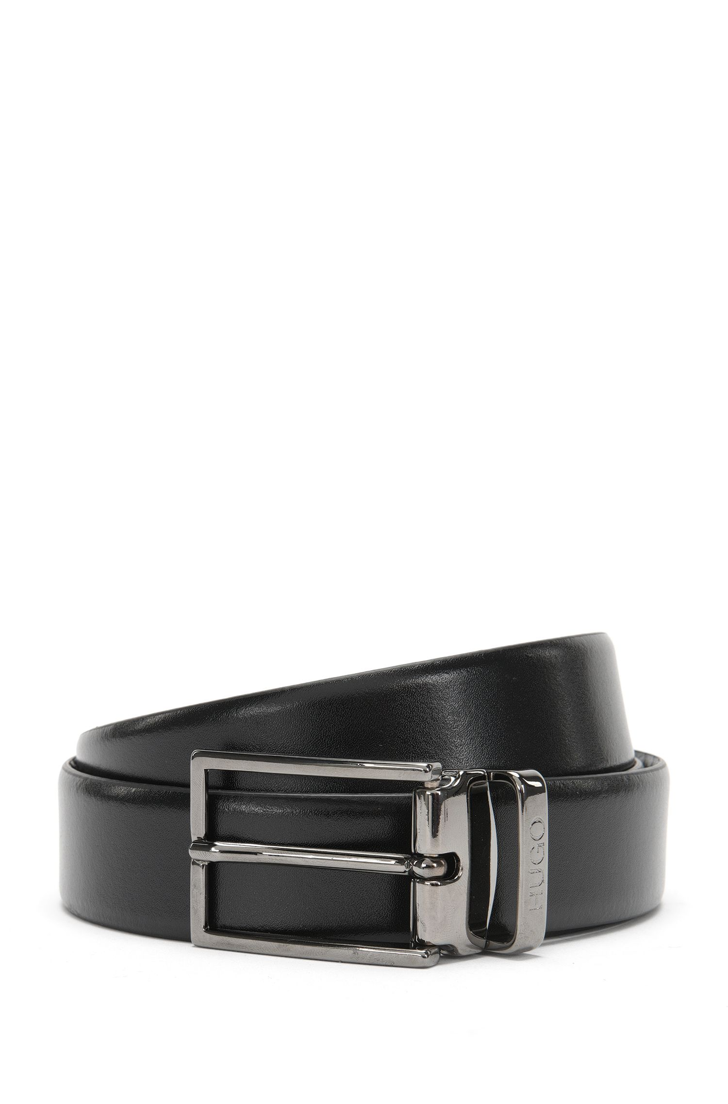 Reversible leather belt with 2 buckles: 'Giasone_Gb30_ps'