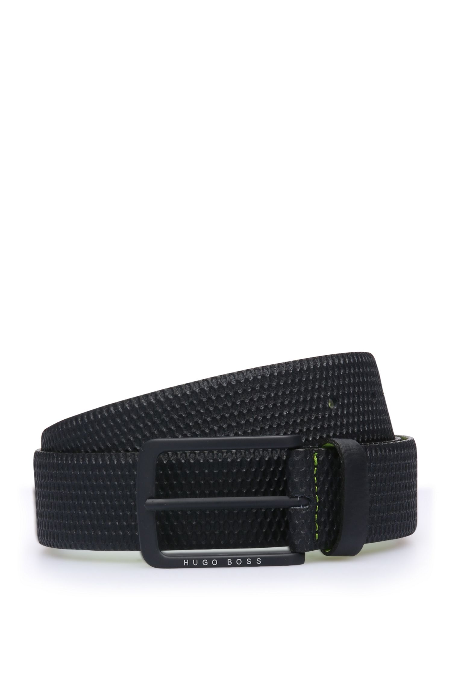 Belt in embossed leather: 'TeresSz35ltem'