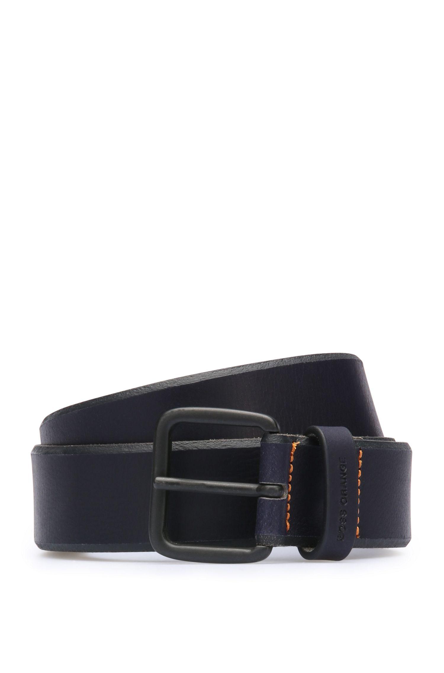 Grained leather belt: 'JoergSz35ltpl'