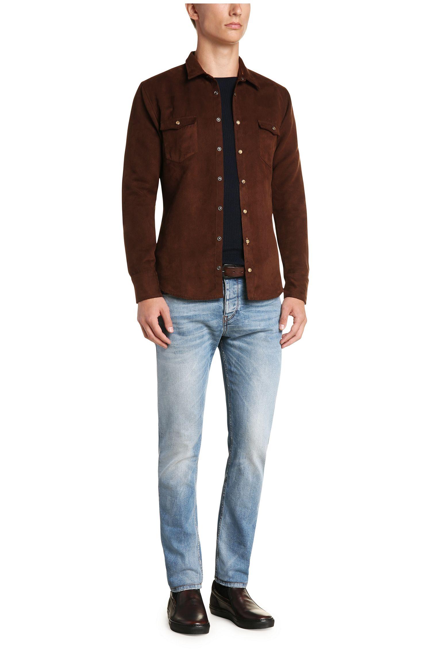 Jeans Tapered Fit en coton extensible: «Orange90»