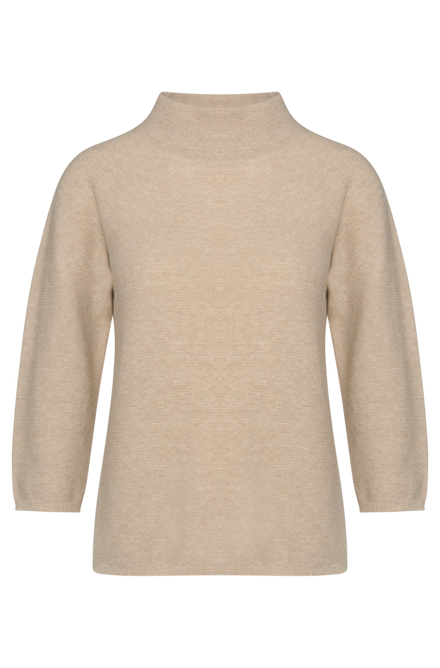 Sweater in a new-wool blend with cashmere and a band collar: 'Framke'