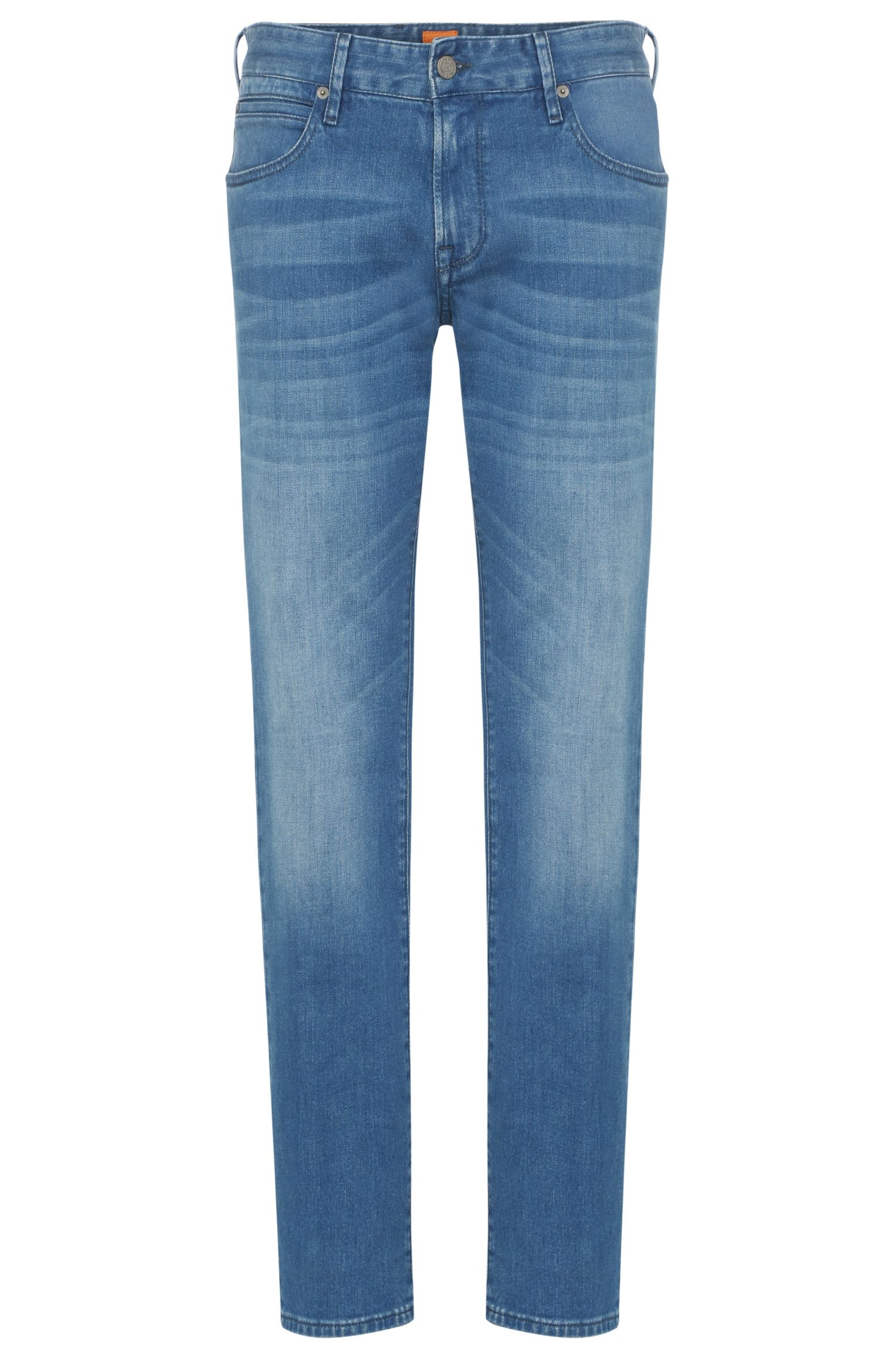 Regular-Fit Jeans aus elastischer Baumwolle in Used-Optik: ´Orange24 Barcelona`