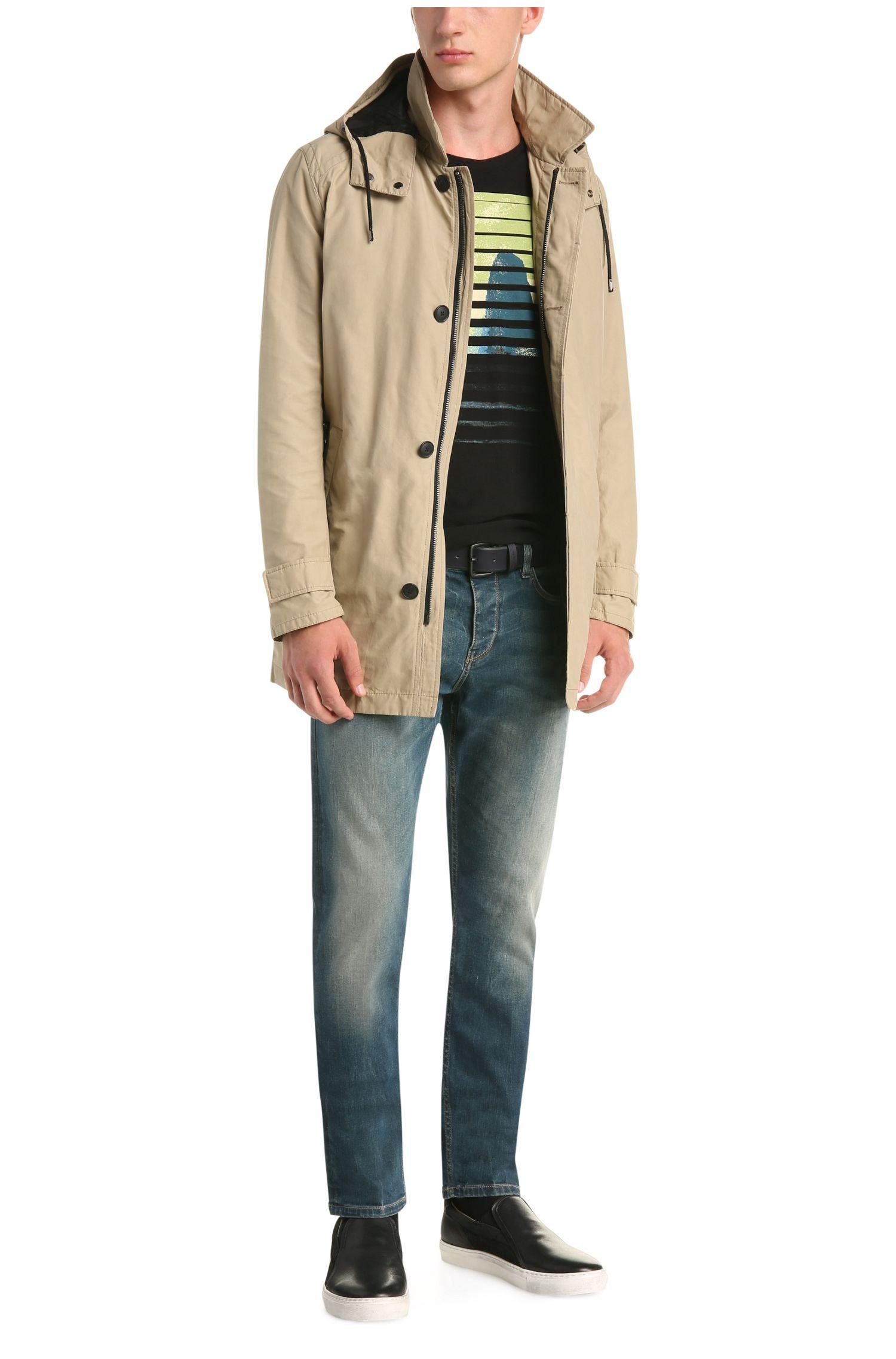 Verwassen tapered-fit jeans van elastische katoen: 'Orange90'