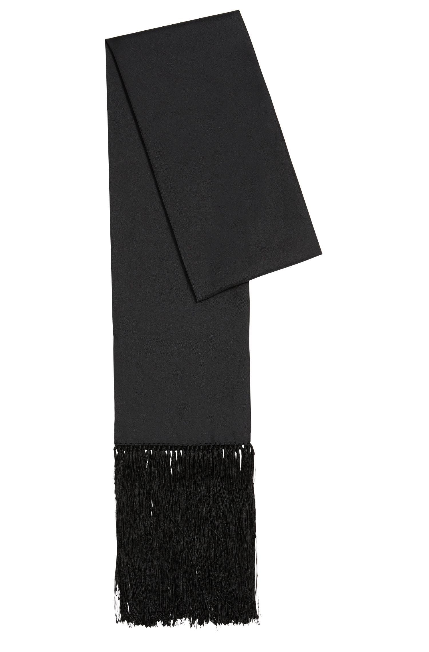 Plain-coloured silk scarf with fine fringes: 'Lolana'