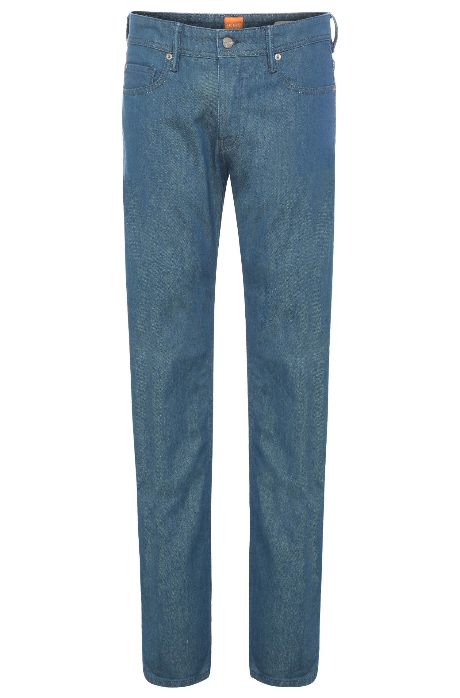 Tapered-fit jeans in stretchy cotton: 'Orange90'