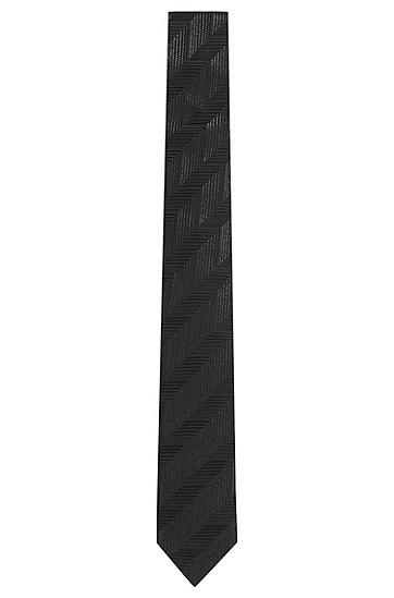 Fein gestreifte Tailored Krawatte aus reiner Seide: 'T-Tie 6 cm', Schwarz