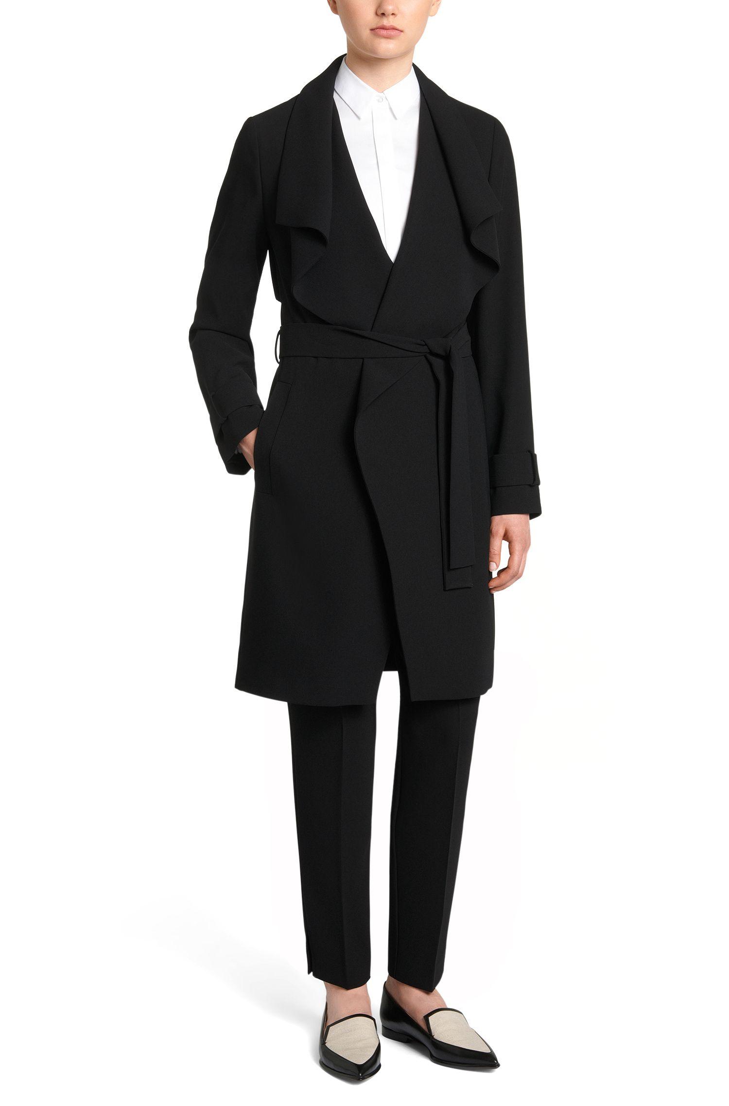 Effen mantel met brede sjaalkraag: 'Claresa'