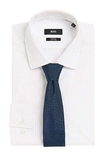 Fein gemusterte Tailored Krawatte aus reiner Seide: 'T-Tie 6 cm', Türkis