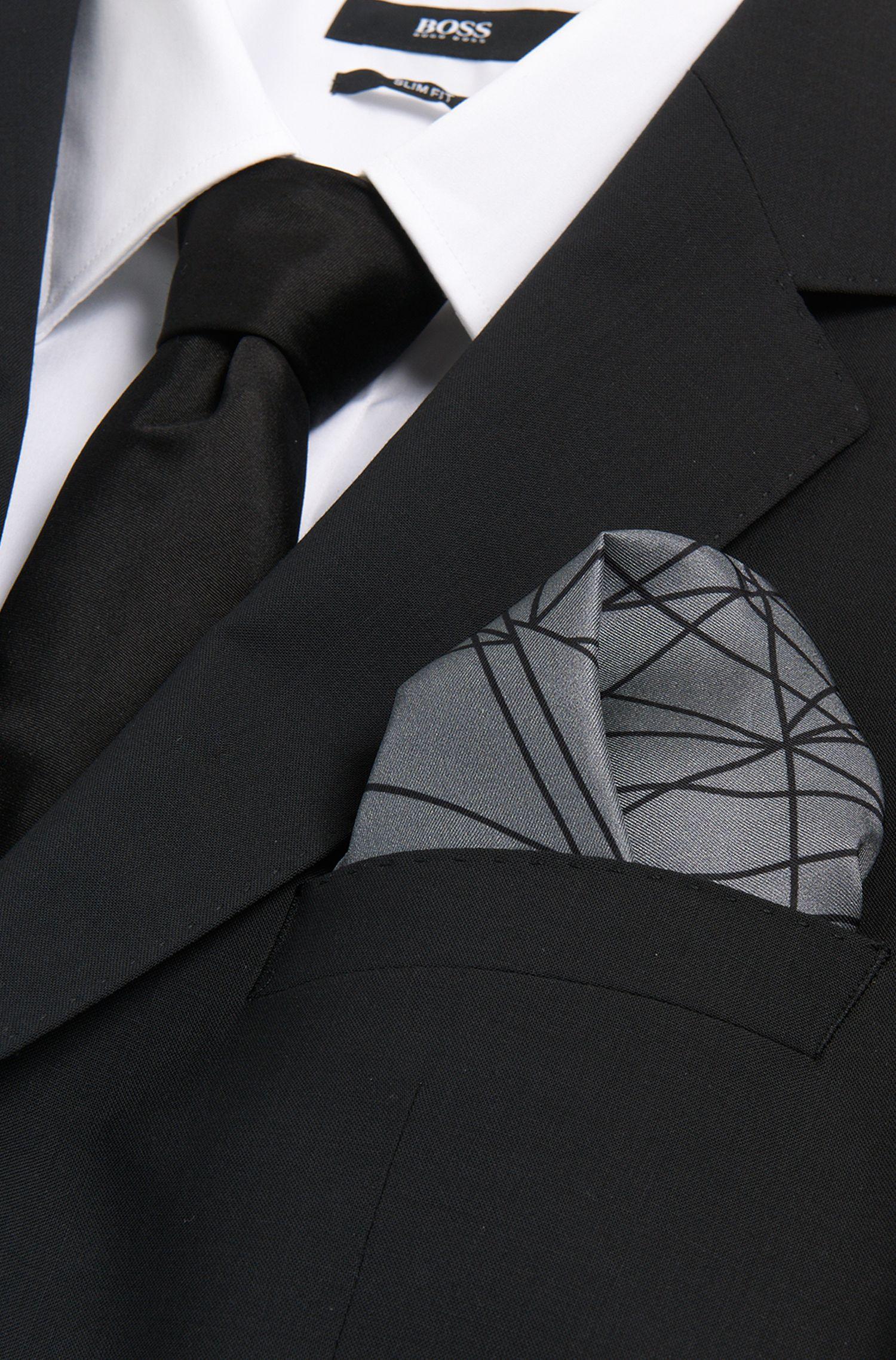 Pochette en soie à motif lignes: «Pocket sq.33x33 cm»