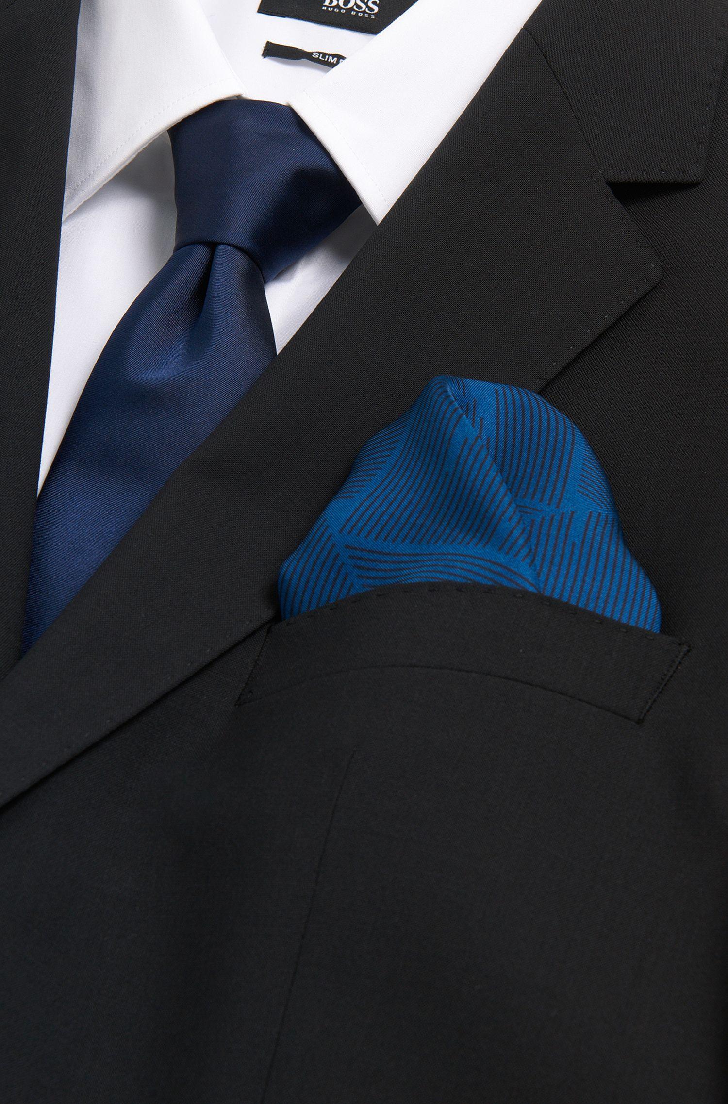 Gemustertes Tailored Einstecktuch aus reiner Seide: 'T-Pocket sq. cm 33x33'