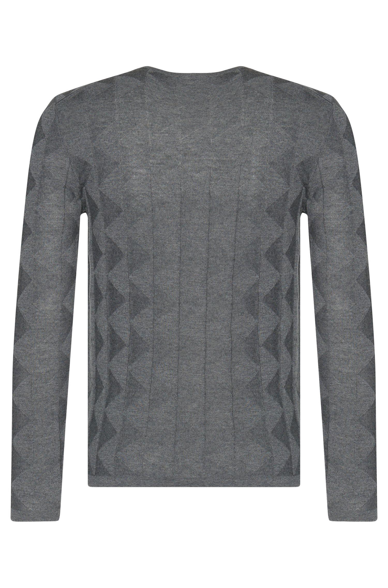 Slim-Fit Pullover aus Schurwolle mit grafischem Struktur-Muster: 'Ibaro'