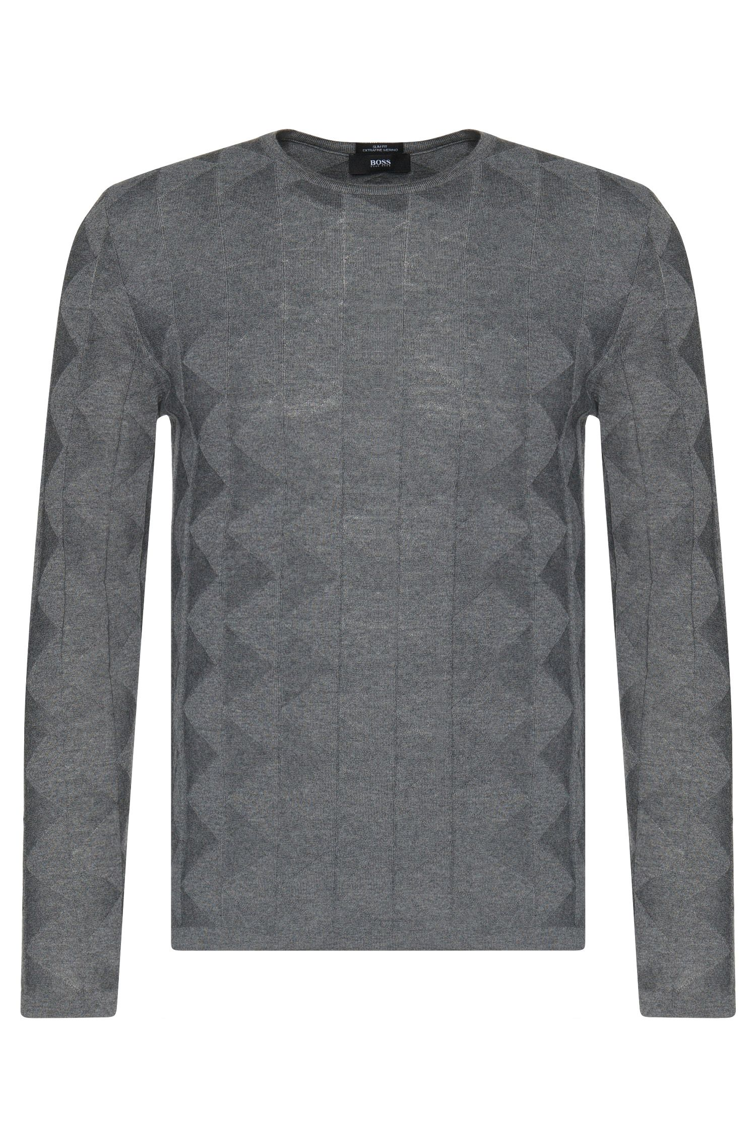 Slim-fit sweater in new wool with graphically textured pattern: 'Ibaro'