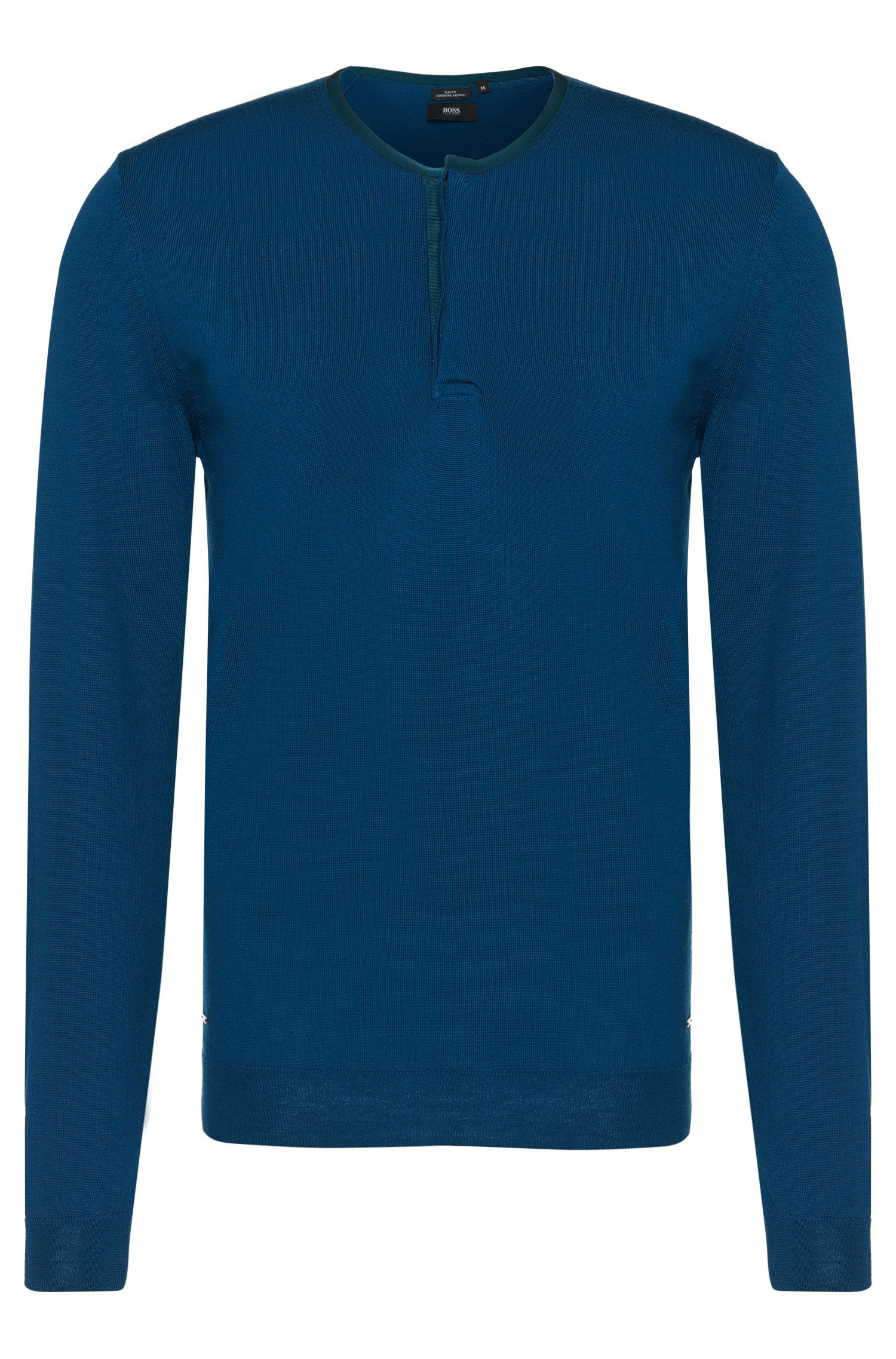 Slim-fit sweater in pure new wool in fine-knit quality: 'Isaac'