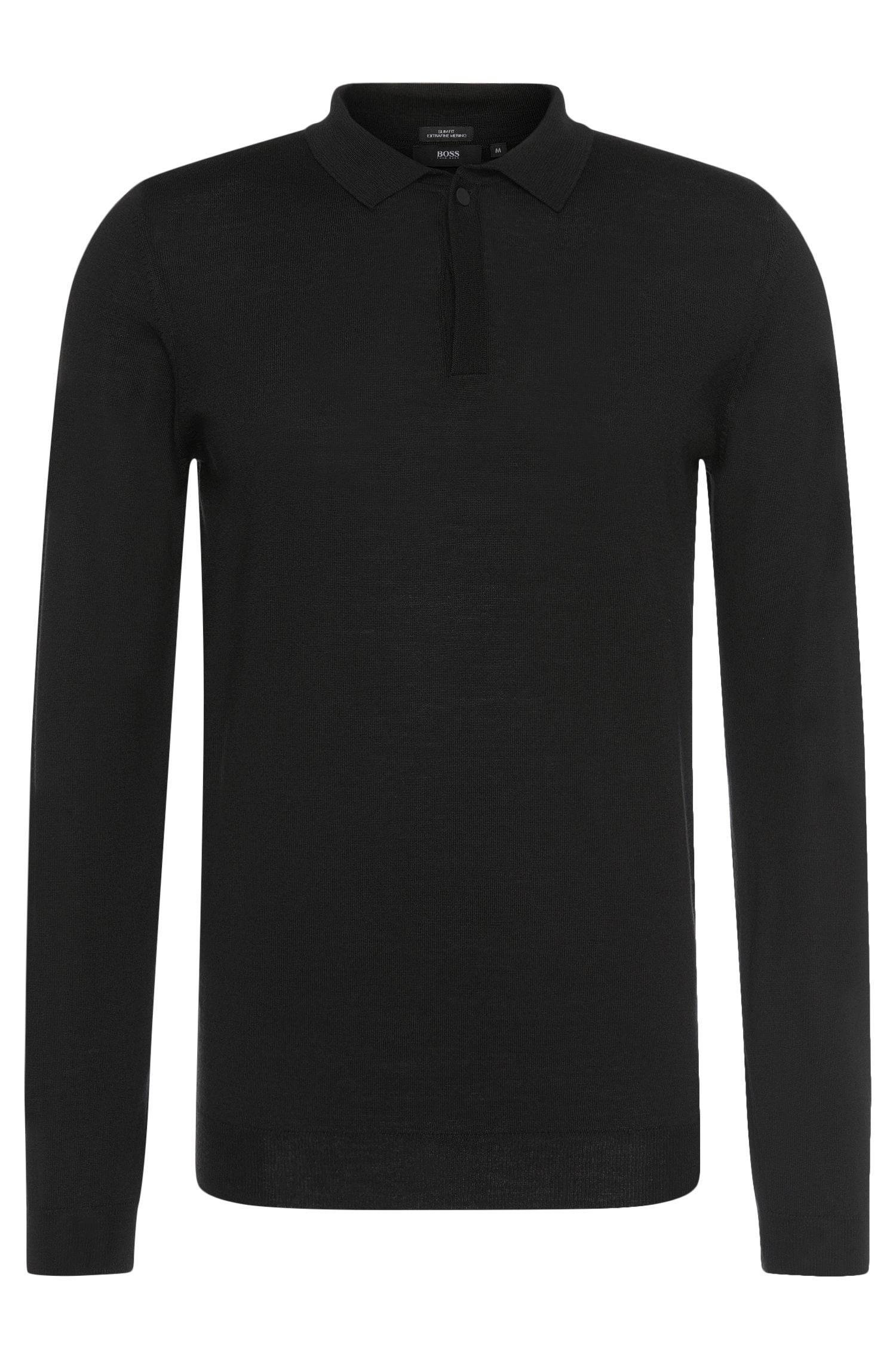 Slim-fit sweater in new wool with polo collar: 'Iden'