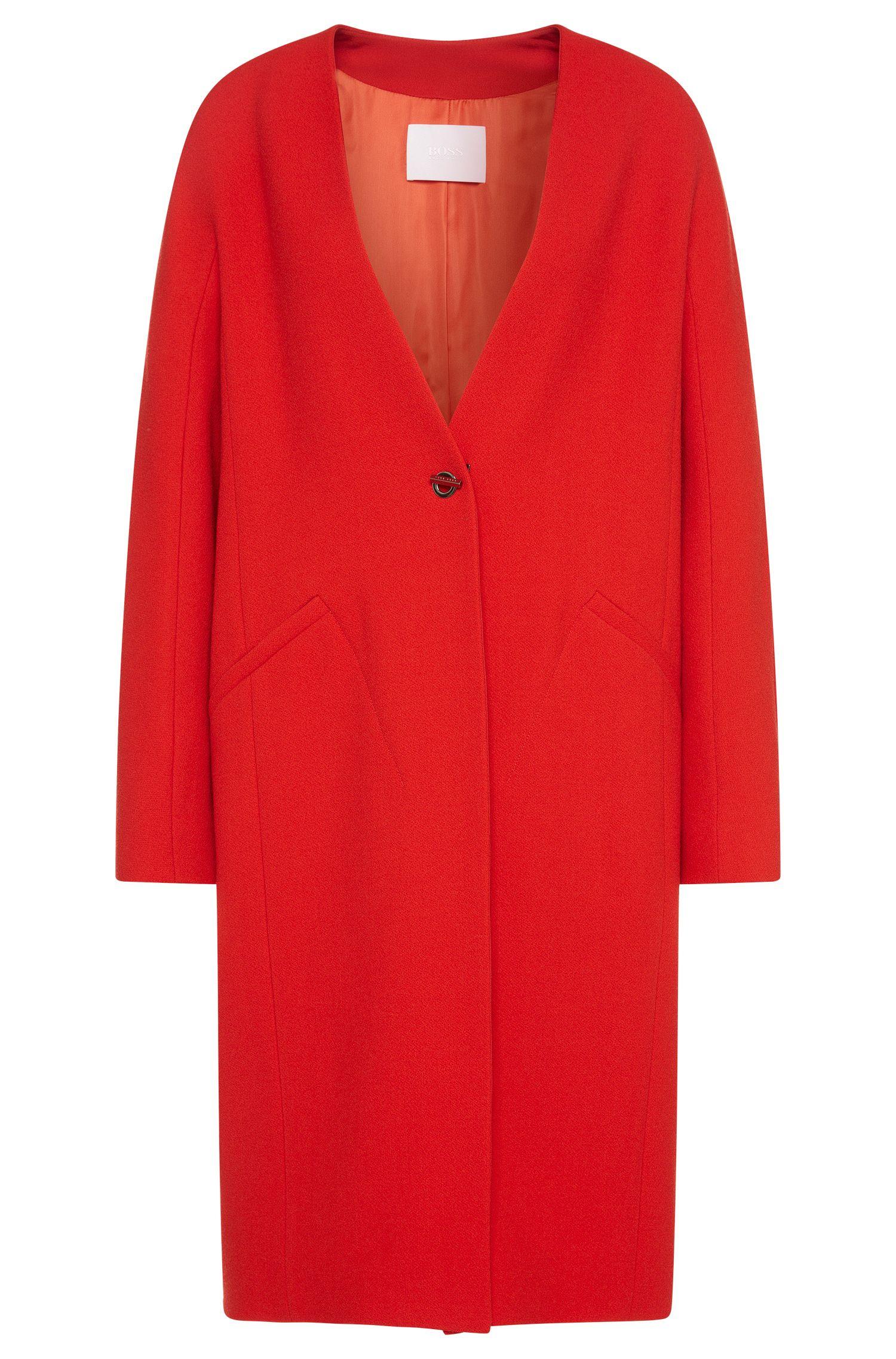 Coat in wool blend with fastening in cufflink style: 'Cubali'