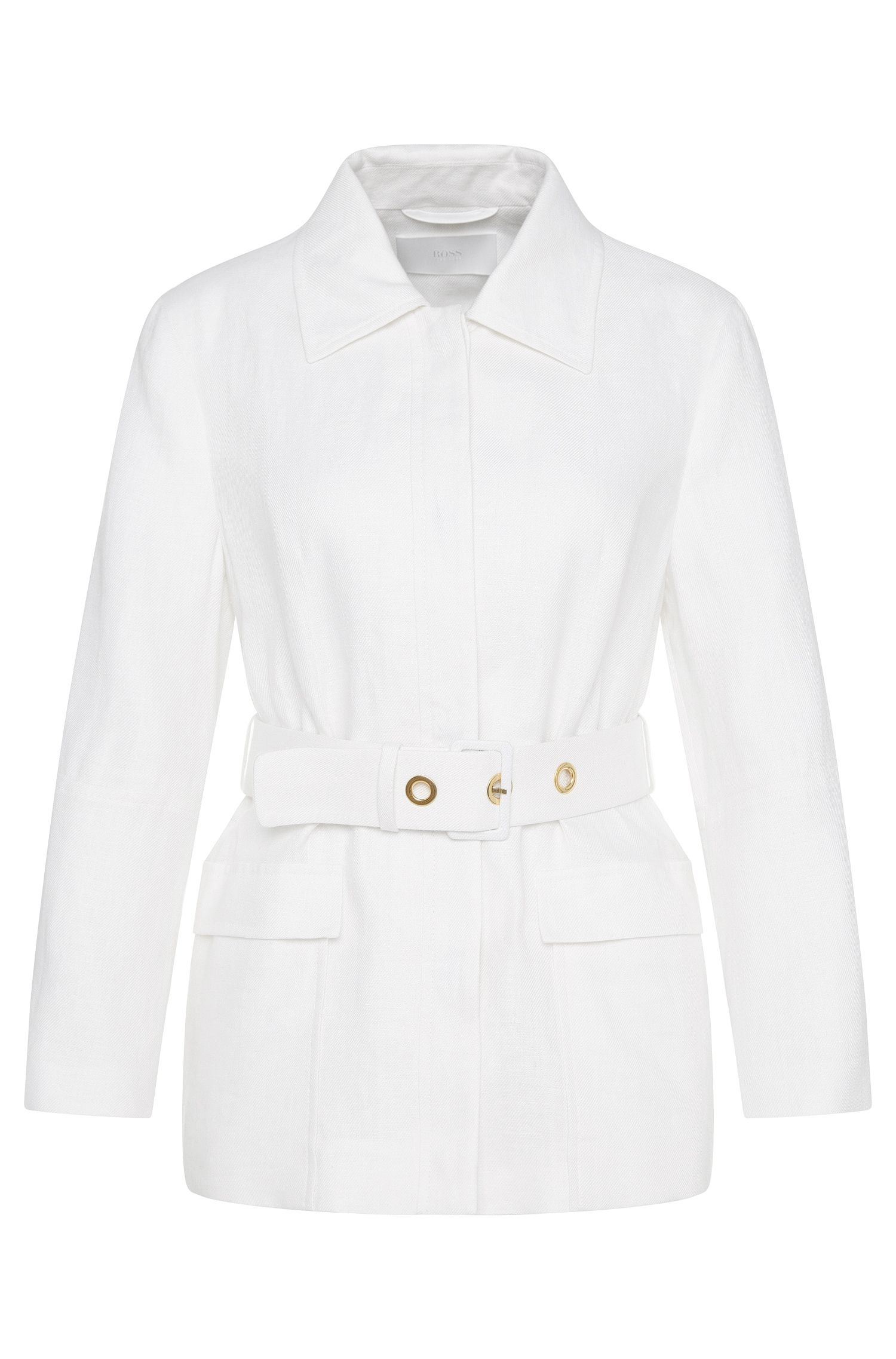Linen blazer with waist belt: 'Jalinea'