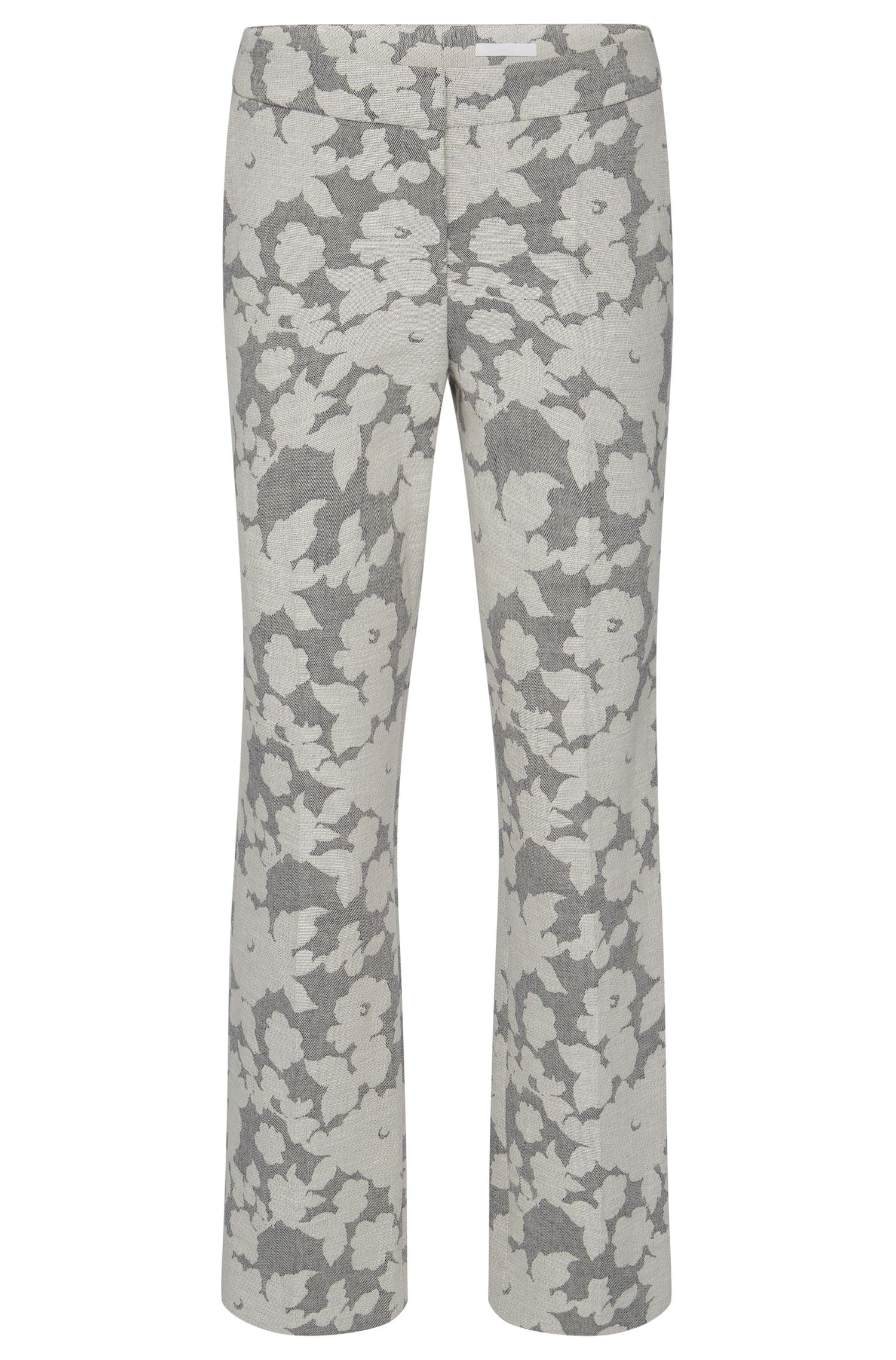 Patterned regular-fit trousers in cotton blend with linen: 'Allery'