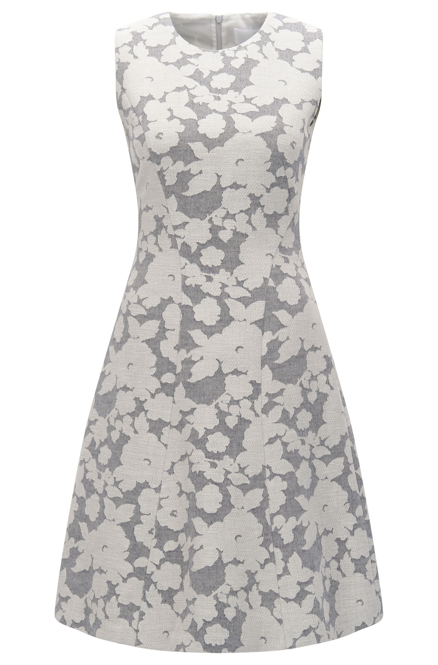 Patterned dress in cotton blend with linen: 'Hellery'