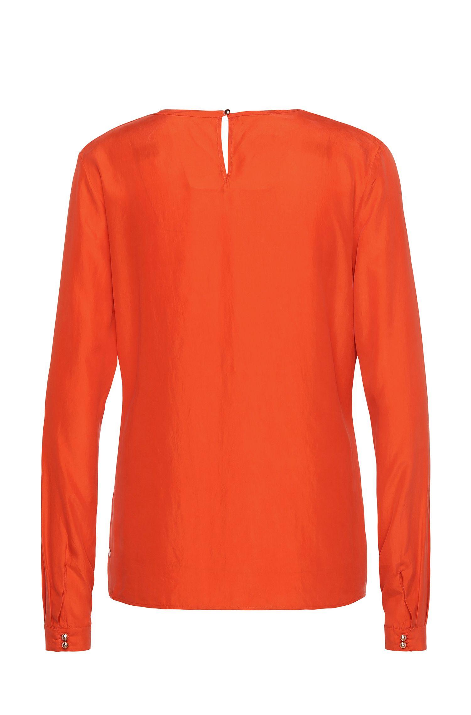 Regular-fit top van zijde met lange mouwen: 'Edic'