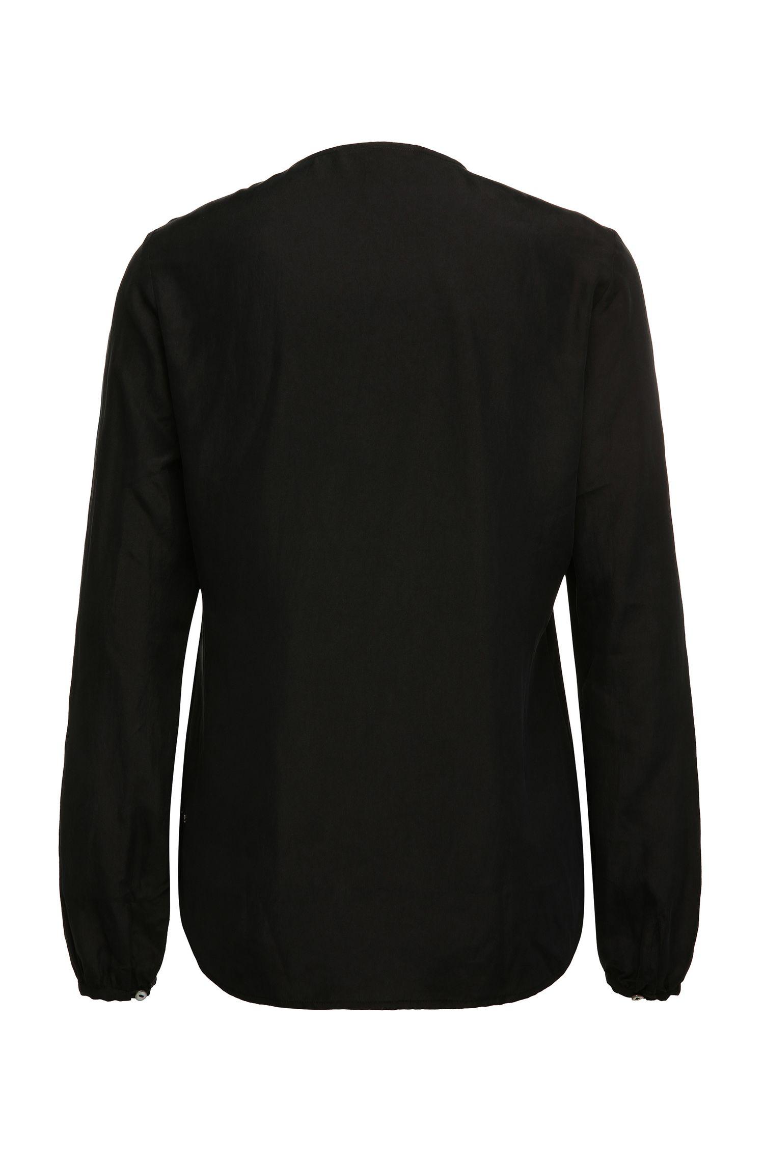 Slim-fit top van zijde met volants: 'Confet'