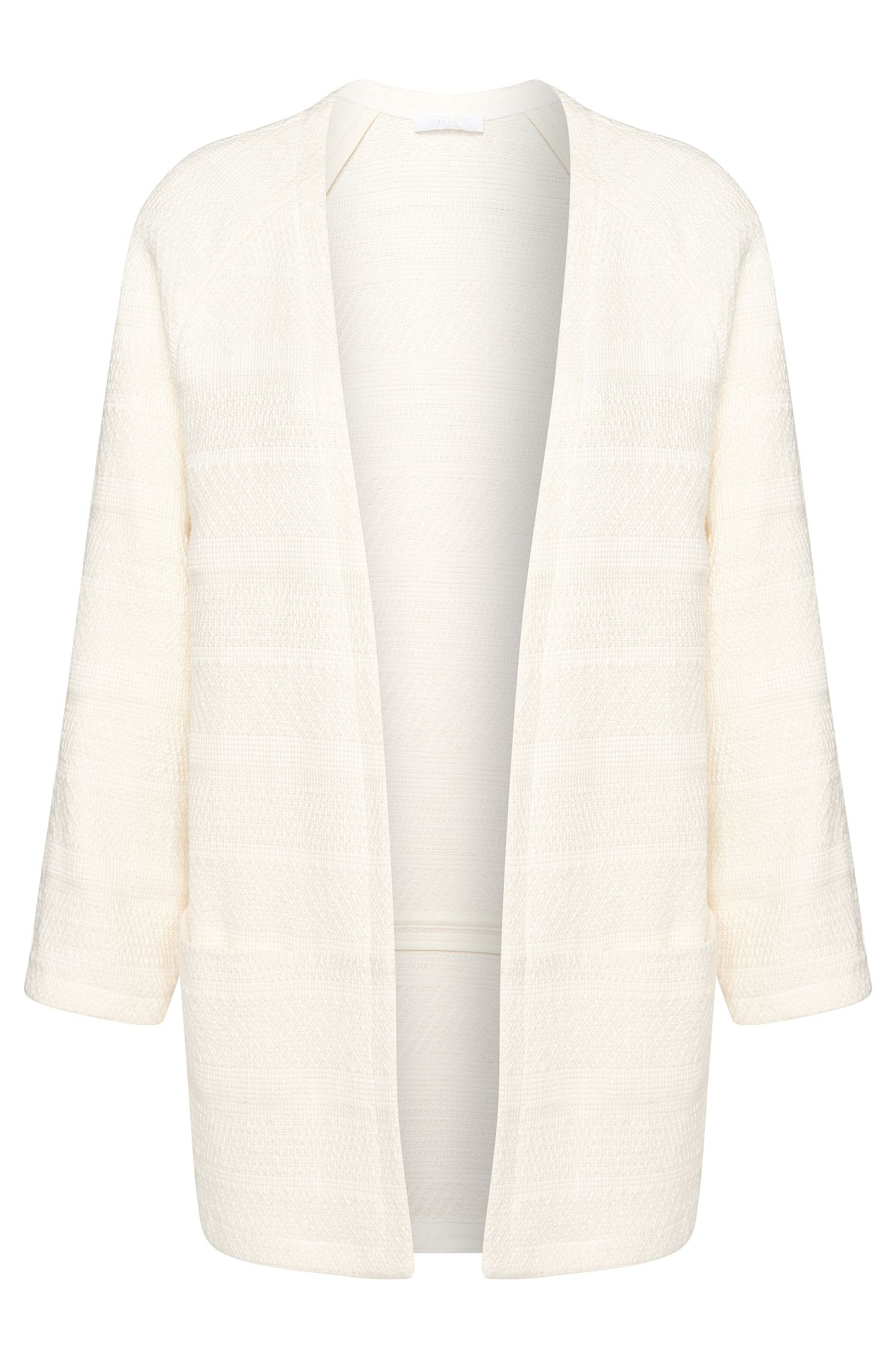 Open knitwear blazer in stretchy cotton blend: 'Krala'