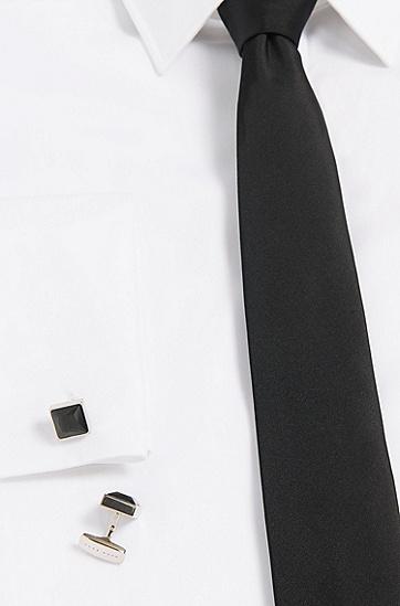 Quadratische Tailored Manschettenknöpfe aus Messing: 'T-Vince', Schwarz
