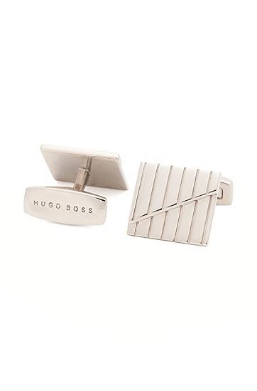Quadratische Tailored Manschettenknöpfe aus Messing: 'T-George', Silber