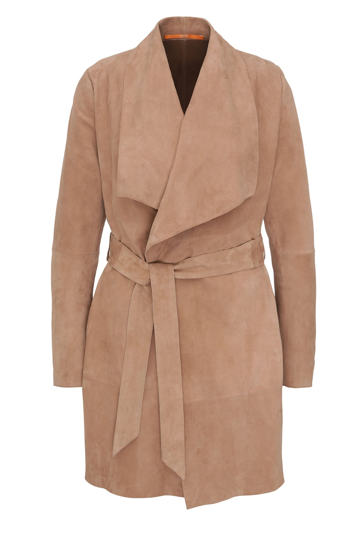 Regular-fit wrap-look leather coat: 'Jawalla'