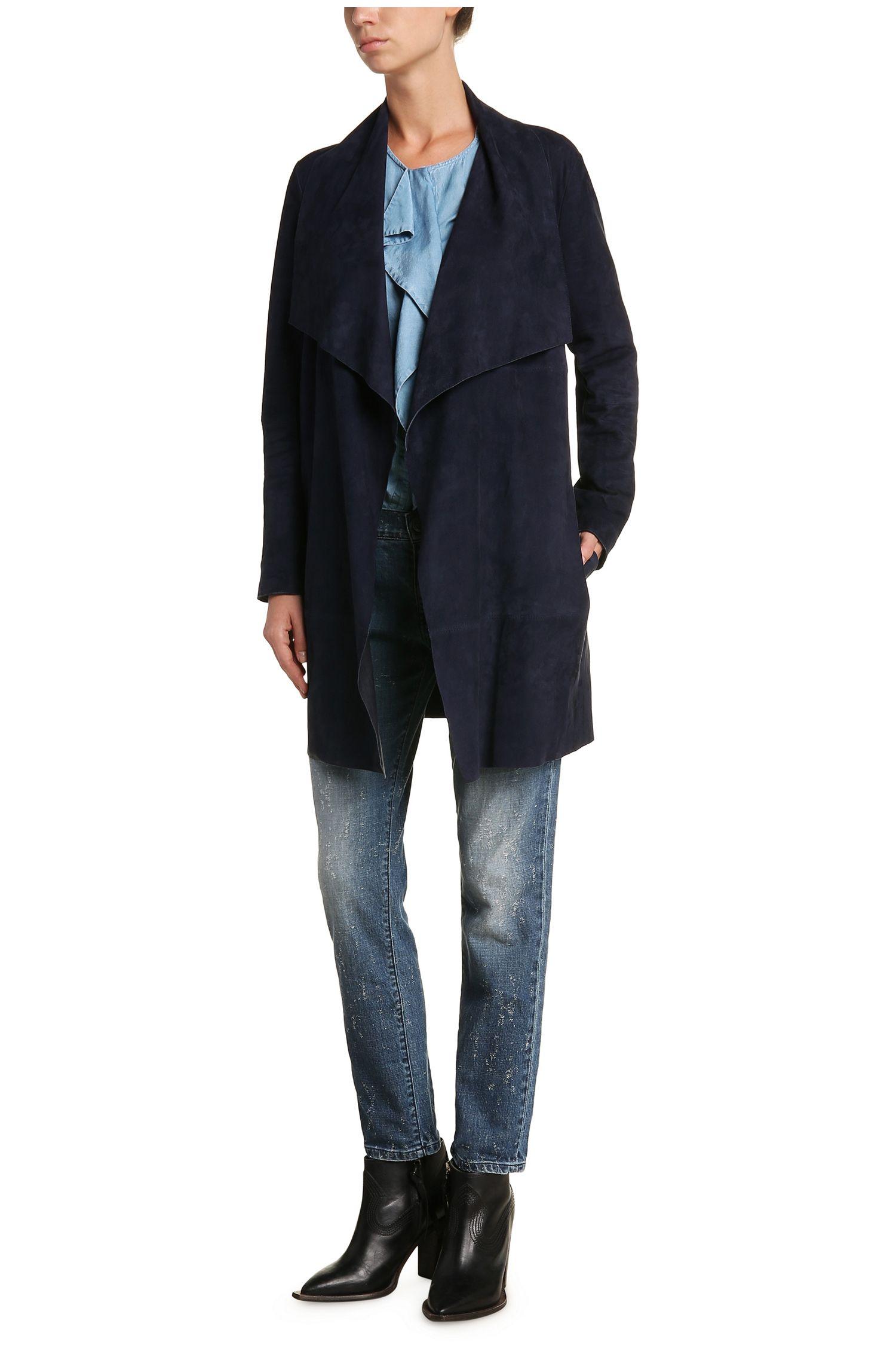 Manteau en cuir Regular Fit effet cache-cœur: «Jawalla»