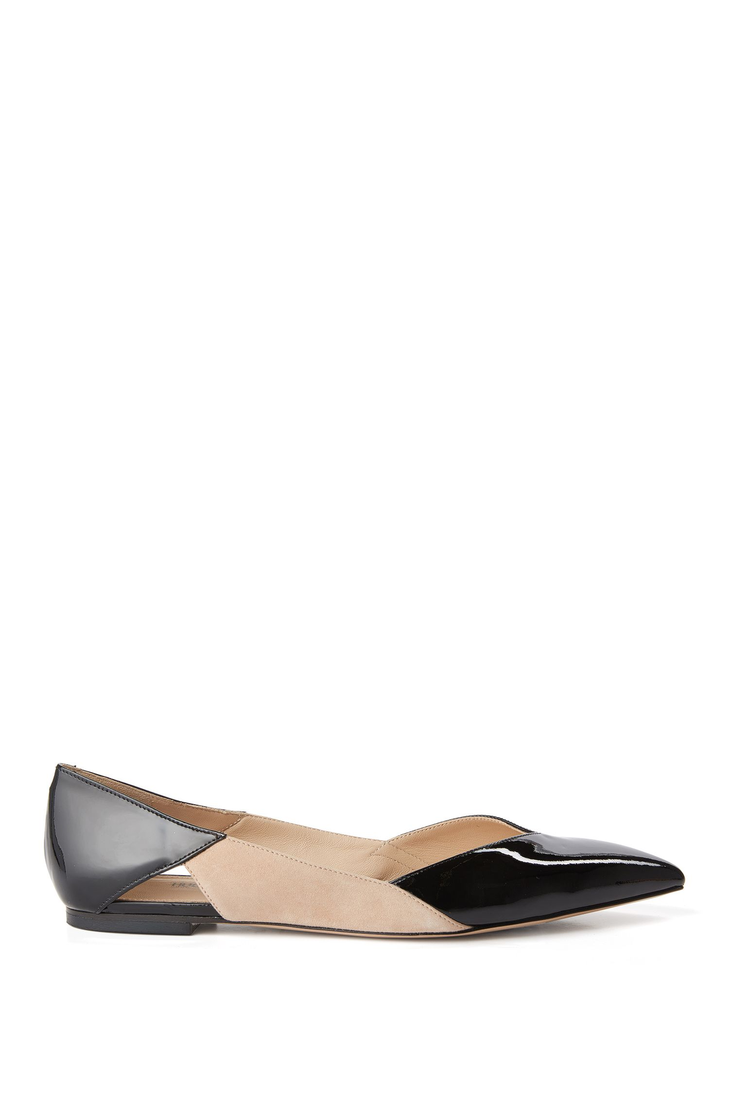 Leather flats in a mixture of textures: 'Gwen'