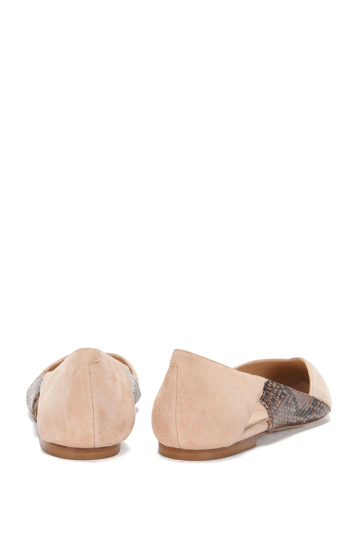 Chaussures plates en cuir en mélange de matières: «Gwen-P»
