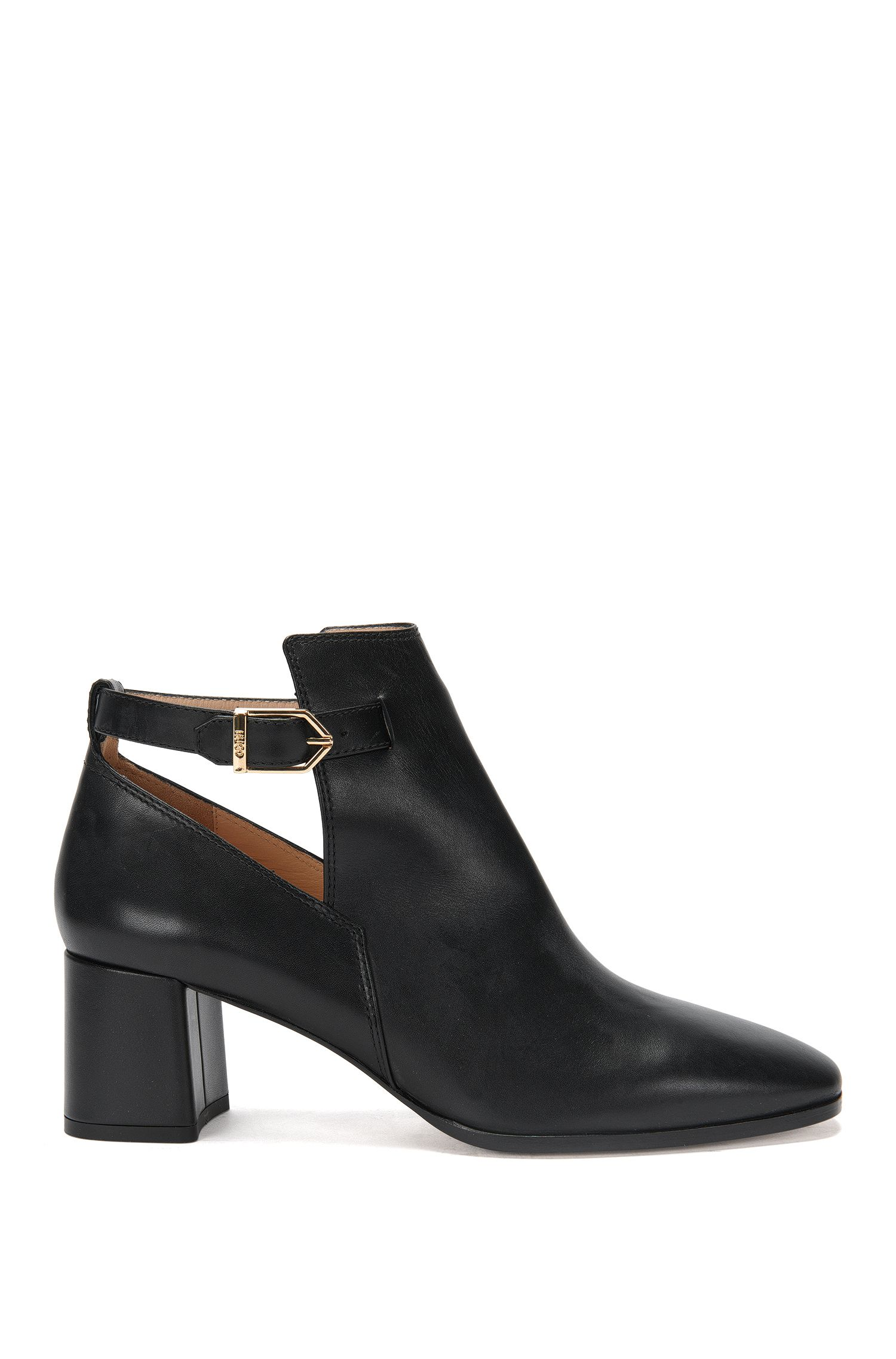 Leather high-front pumps with block heel: 'Gypsy'