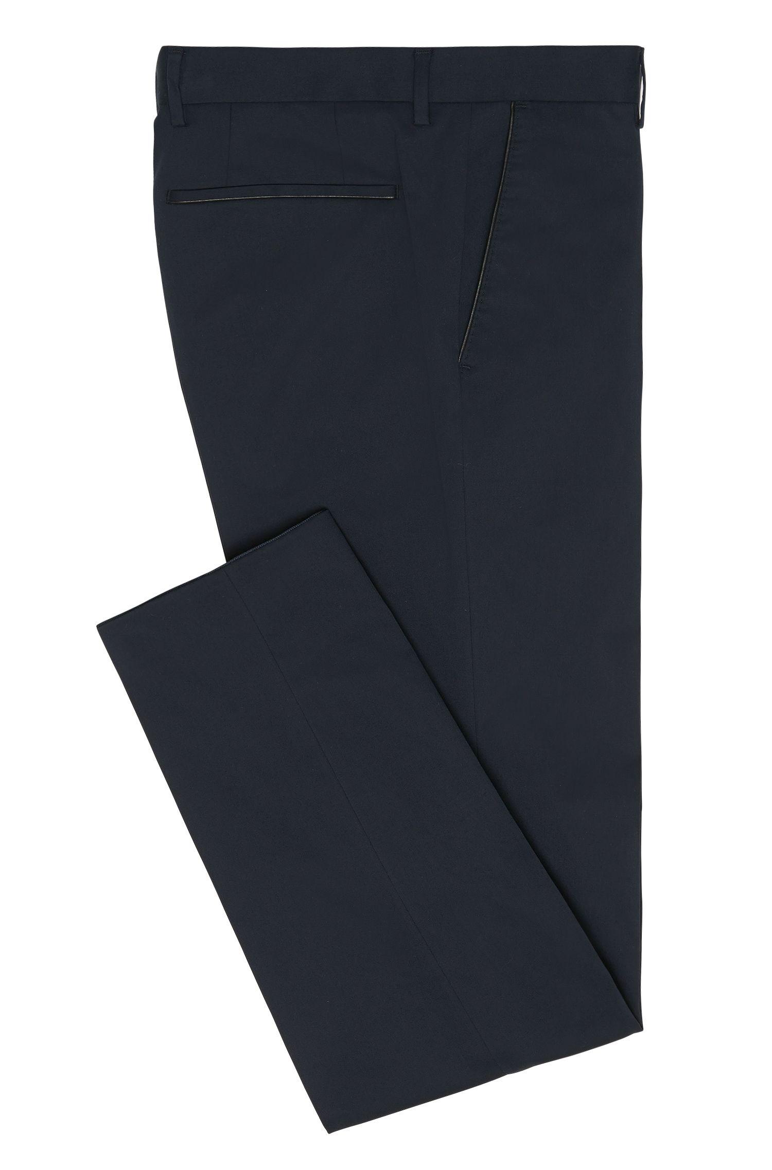 Slim-Fit Hose aus Stretch-Baumwolle mit Paspeln in Leder-Optik: 'Barao'