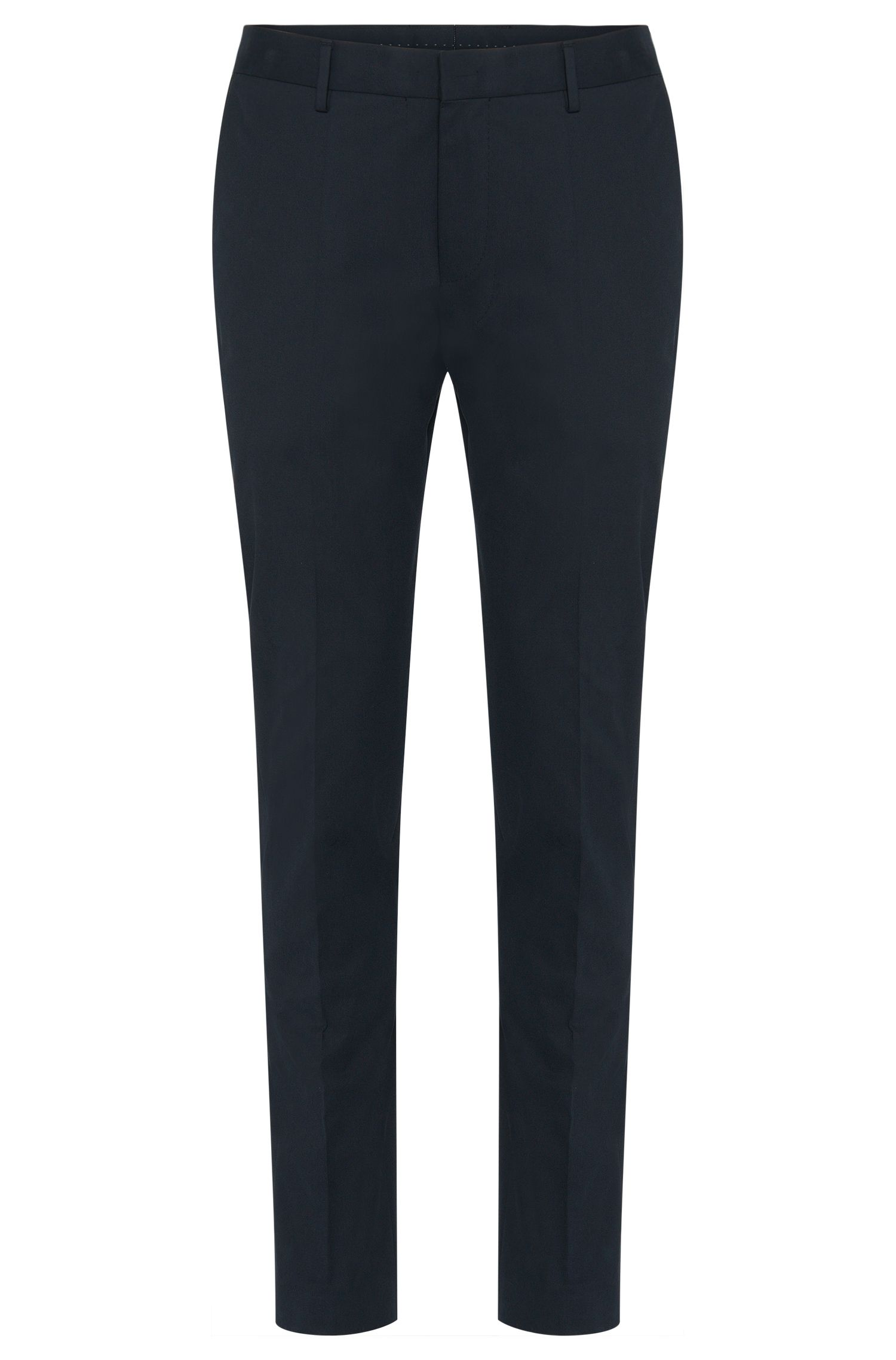 Slim-fit trousers in stretch cotton with leather effect piping: 'Barao'