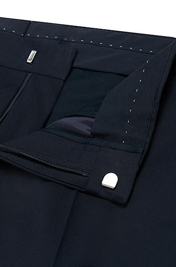 Slim-Fit Hose aus Stretch-Baumwolle mit Paspeln in Leder-Optik: 'Barao', Dunkelblau