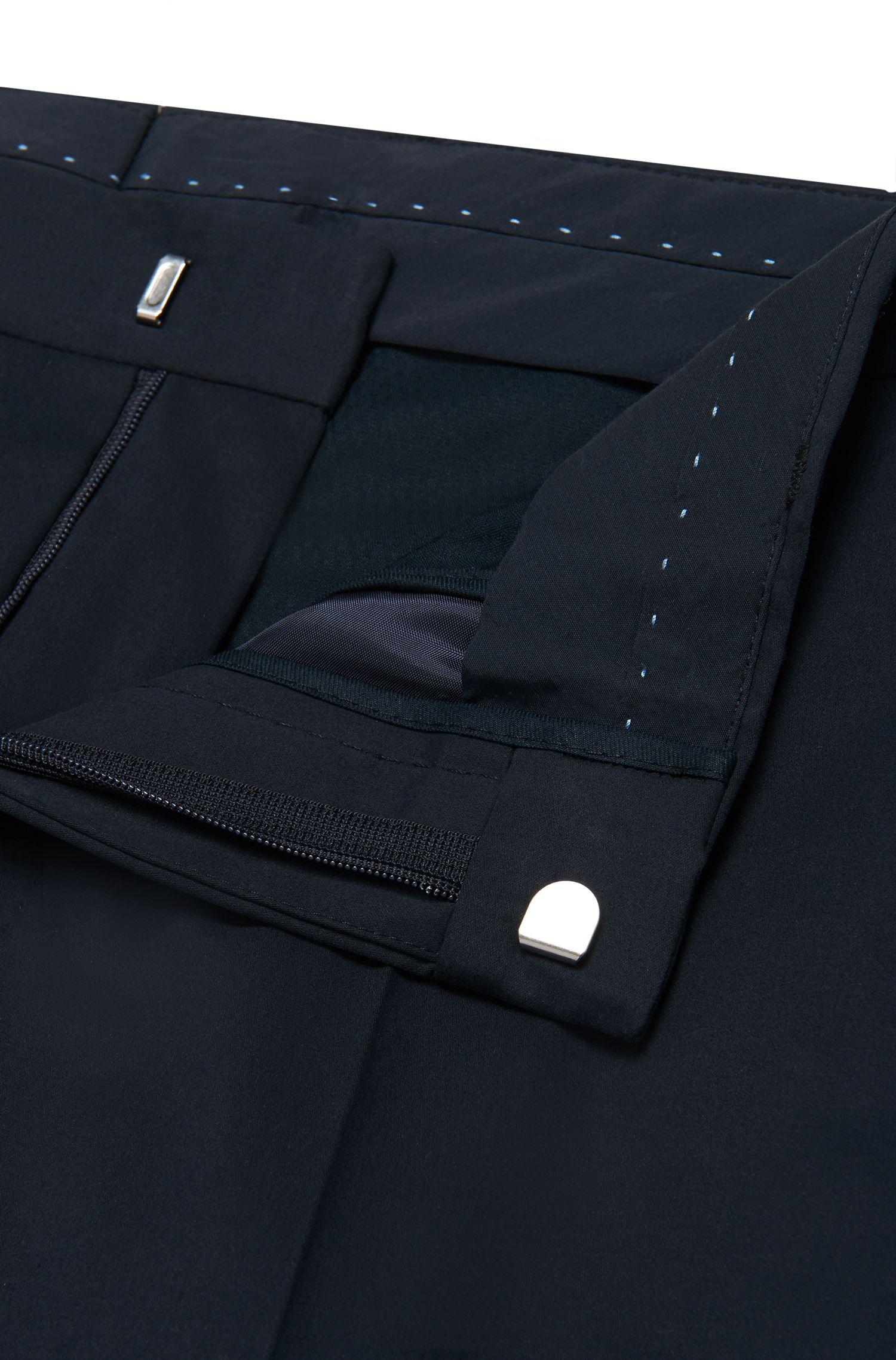 Pantalon Slim Fit en coton stretch à passepoils à effet cuir: «Barao»