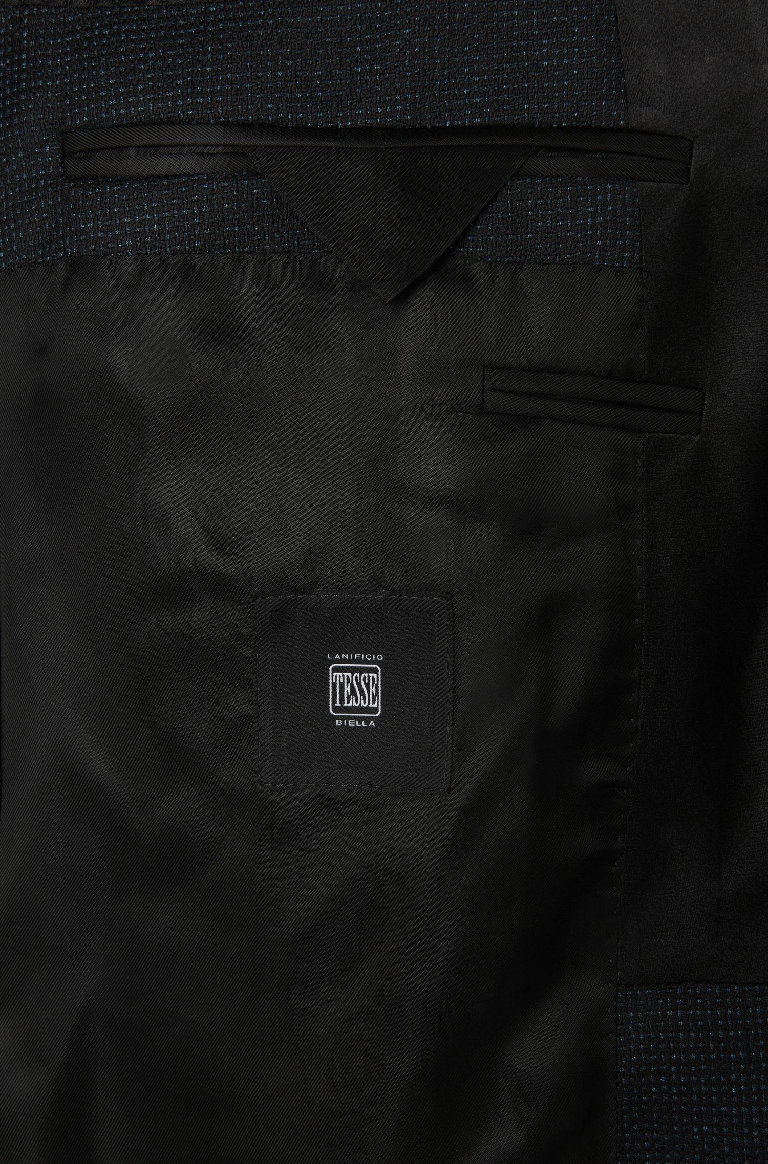 Slim-Fit Smoking-Jacke aus Schurwoll-Mix mit Seiden-Besätzen: 'Hockley'