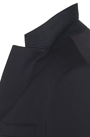 Slim-Fit Sakko aus Schurwolle mit feiner Struktur: 'Nordan', Dunkelblau