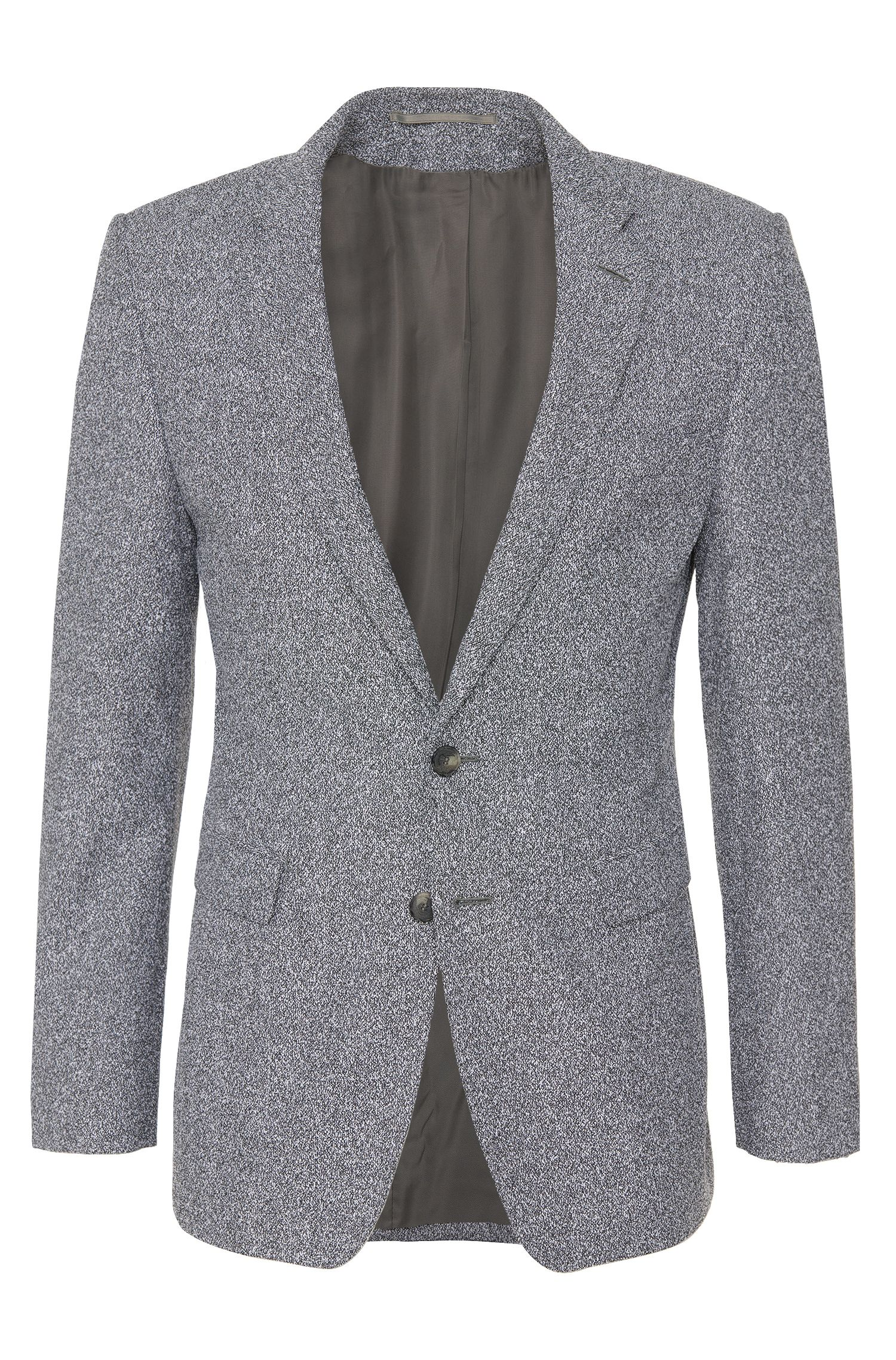 Extra slim-fit colbert uit de Tailored-collectie, van een scheerwolmix in peper-en-zout-design: 'T-Raven'