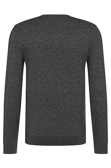 Melierter Slim-Fit Pullover aus Baumwolle: 'Ives', Schwarz