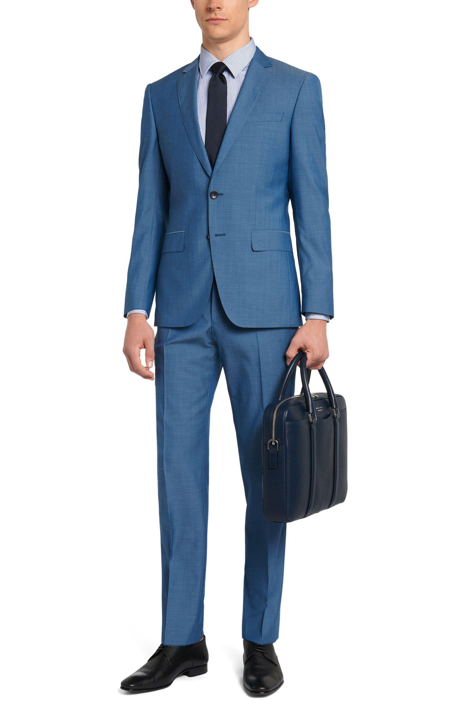 Fein melierter Slim-Fit Anzug aus Schurwolle: 'Huge5/Genius3'