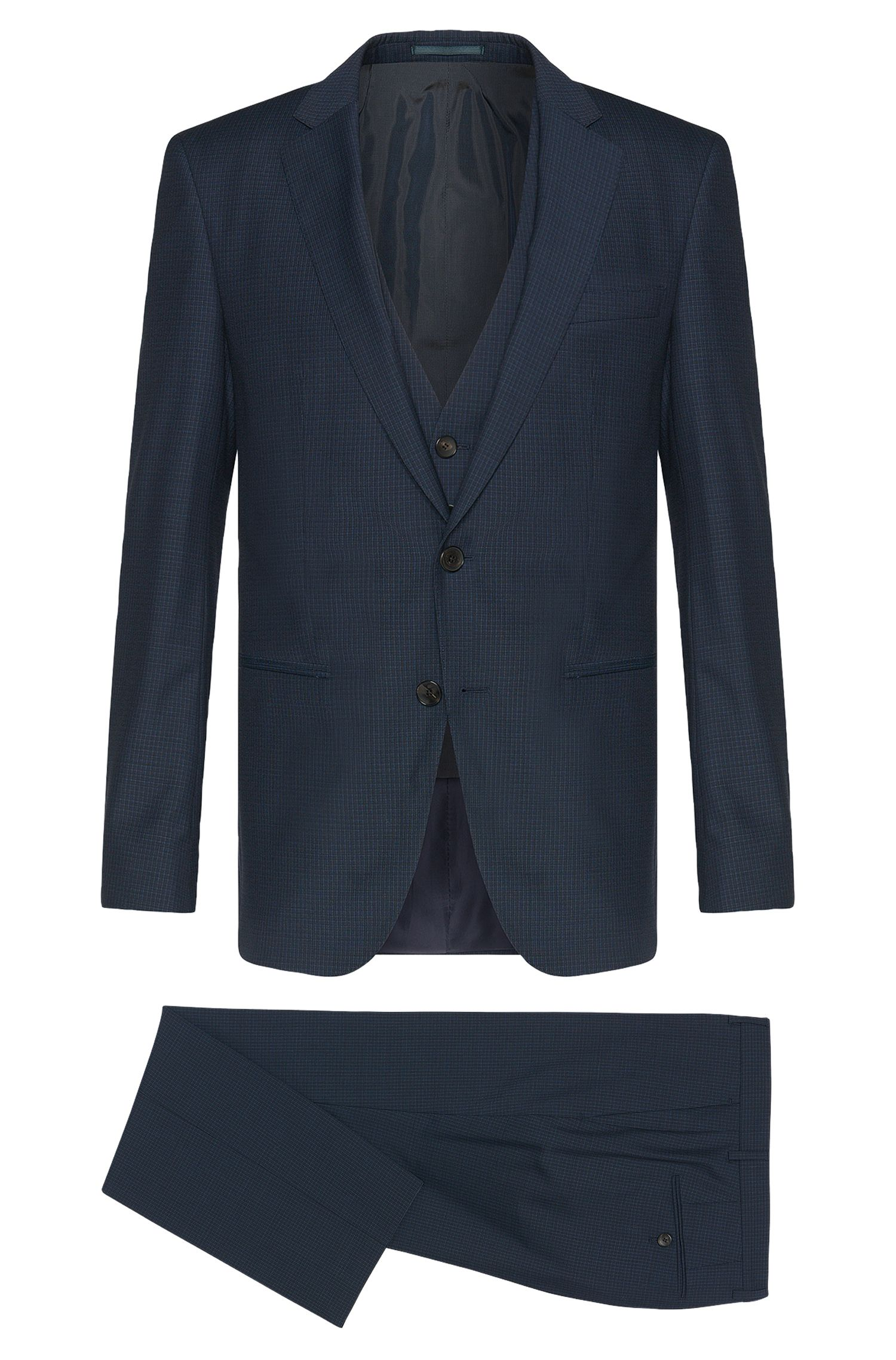 Slim-fit suit in new wool with a subtle check pattern: 'Hamsen/Glenn WE'