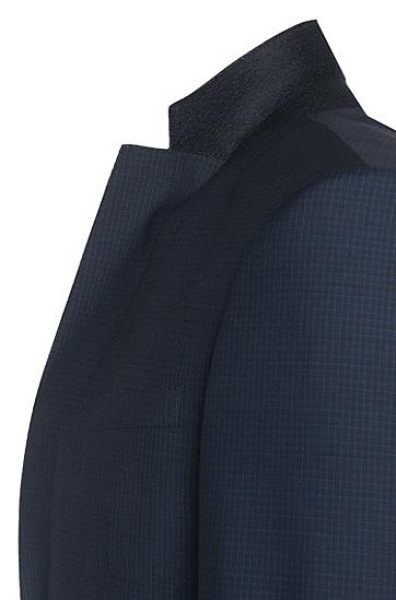 Slim-Fit Anzug aus Schurwolle mit dezentem Karo-Muster: 'Hamsen/Glenn WE', Dunkelblau