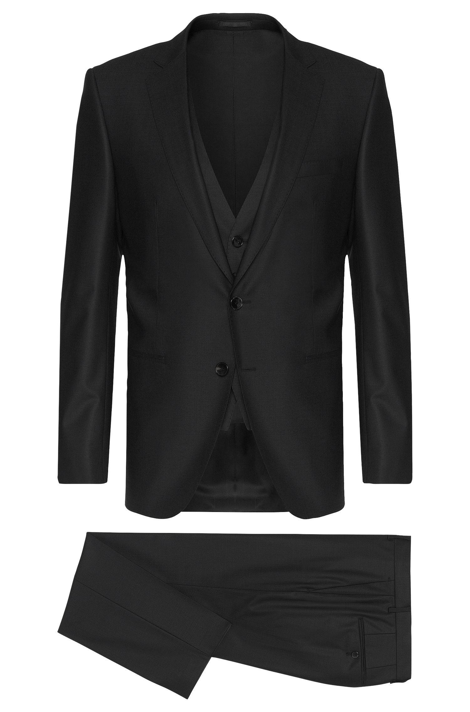 Costume Slim Fit en laine vierge mélangée extensible, avec gilet: «Hamsen/Glenn WE»