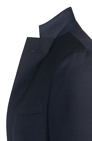 Extra Slim-Fit Anzug aus Schurwolle mit Struktur-Muster: 'Reyno2/Wave1', Dunkelblau