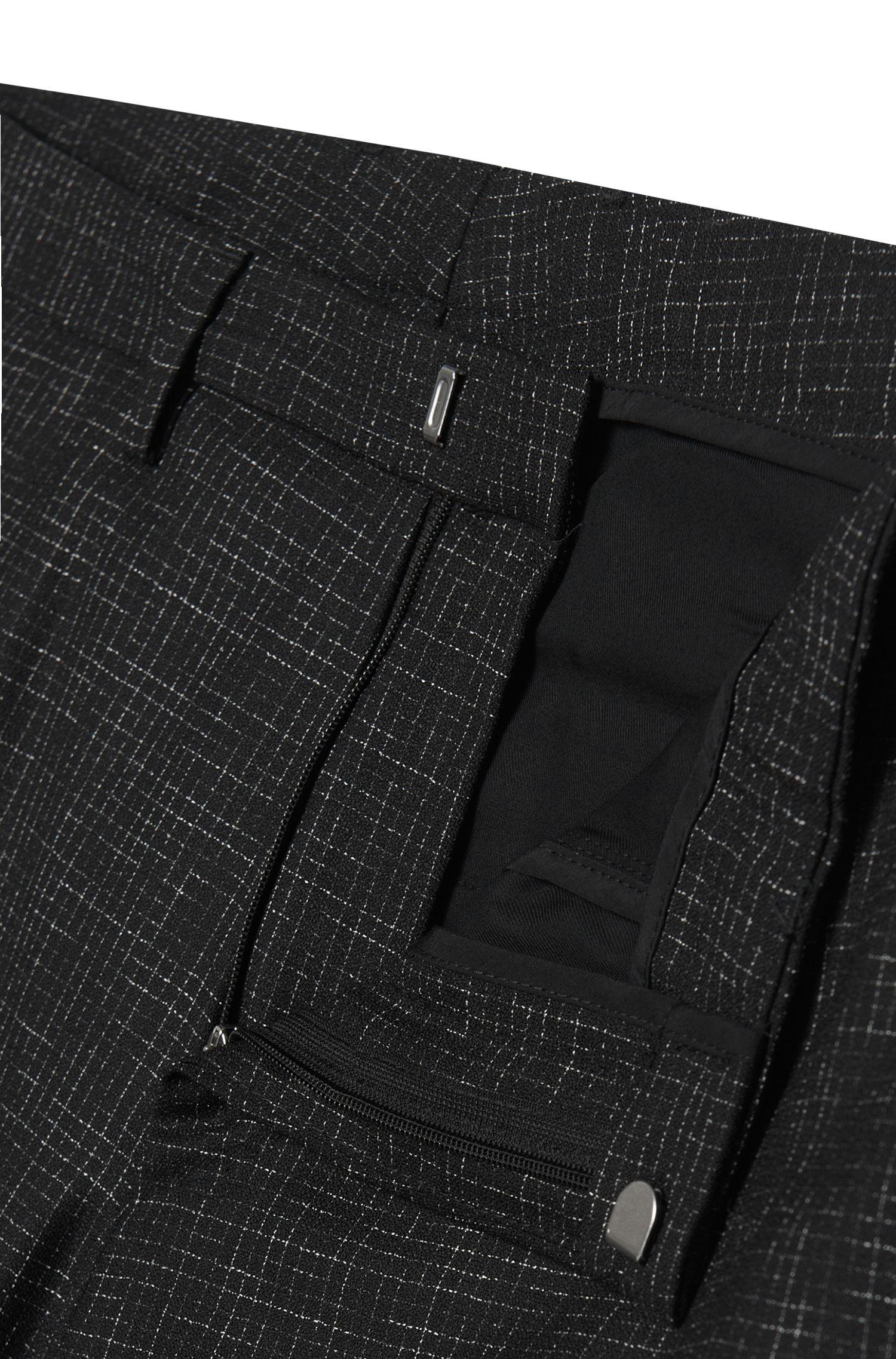 Costume Extra Slim Fit en laine vierge, au discret motif à carreaux: «Reyno2/Wave1»