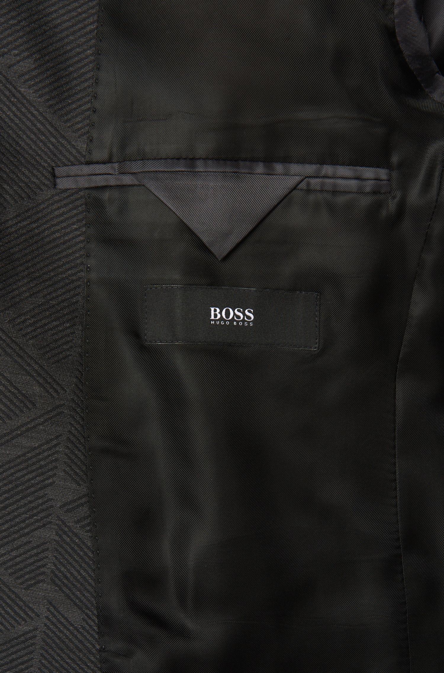 Costume Extra Slim Fit en laine vierge mélangée, au motif graphique: «Reyno2/Wave1»