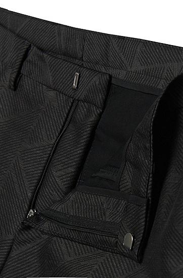 Extra Slim-Fit Anzug aus Schurwoll-Mix mit Grafik-Muster: 'Reyno2/Wave1', Dunkelgrau