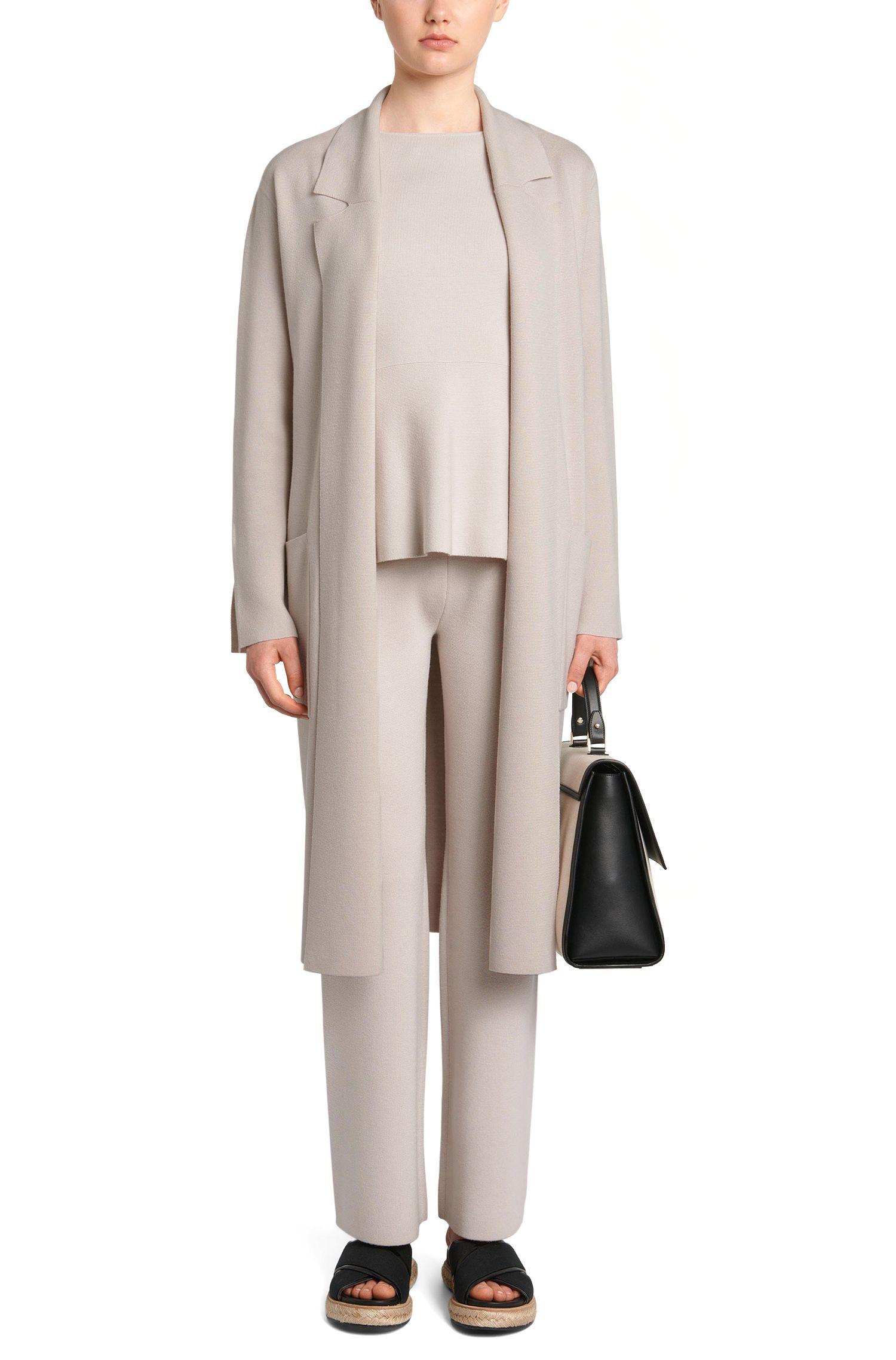 Longue veste en maille de laine vierge avec ceinture à nouer: «Fasilena»